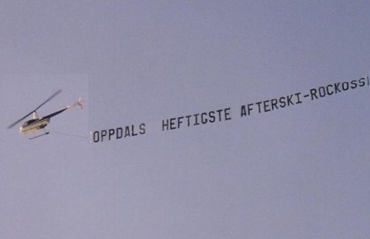 Reklame banner helikopter Midtnorsk helikopterservice