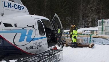 Helikopterløft-hytte-materialer-trøndelag-pris